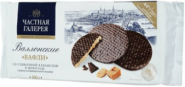 Частная Галерея Валлонские вафли со сливочной карамелью в шоколаде, 300 г