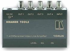 Kramer 104LN Усилитель-распределитель 1:4 видео с дифференциальным входом; 423 МГц, регулировка уровня и АЧХ
