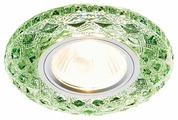 Встраиваемый светильник Ambrella light S288 GR, хром/изумруд хрусталь