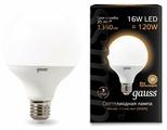 Лампа светодиодная gauss 105102116, E27, G95, 16Вт