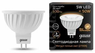 Лампа светодиодная gauss 201505105, GU5.3, MR16, 5Вт