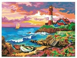 "Рыжий кот Картина по номерам ""Маяк на море"" 30х40 см (Х-0412)"