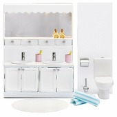 Lundby Набор мебели для ванной комнаты с 2 раковинами Смоланд (LB_60208800)