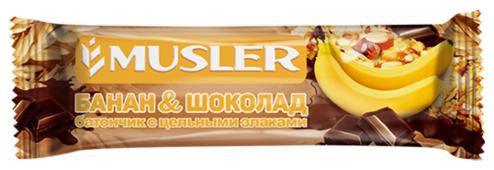 Злаковый батончик Musler в шоколадной глазури Банан и шоколад, 30 г