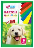 Цветной картон мелованный, в папке, в ассортименте ArtSpace, A4, 8 л., 8 цв.