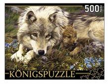 Пазл Рыжий кот Konigspuzzle Люси Билодо Волчица и волчонок (АЛК500-8330), 500 дет.