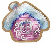 Созвездие Набор для вышивания крестом на основе Новогодняя игрушка Избушка 7 х 8 см (ИК-002)