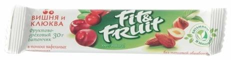 Фруктовый батончик Fit&Fruit в тонких вафельных пластинках Вишня и клюква, 30 г