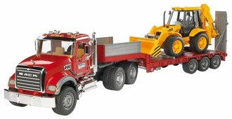Набор техники Bruder Тягач с прицепом–платформой Mack с колёсным экскаватором–погрузчиком JCB 4CX (02-813) 1:16 93.5 см