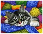 Картина по номерам Белоснежка Котик в лоскутках 002-AB