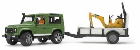 Набор машин Bruder Внедорожник Land Rover Defender c прицепом и экскаватором 8010 CTS (02-593) 1:16