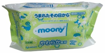 Влажные салфетки Moony Трехслойные сменный блок