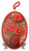 """Подставка под горячее Elan gallery """"Маки"""" 19*13*1 см., овальная, красный шнурок"""