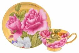 Elan gallery Чайная пара Пионы на золоте