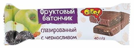 Фруктовый батончик ОГО! в шоколадной глазури Чернослив, 40 г
