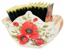 """Подставка для чайных пакетиков Elan gallery """"Чайник"""" """"Маки"""" 12*9*8 см. 300 мл."""