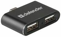 USB-концентратор Defender Quadro Dual (83207), разъемов: 2
