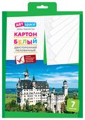 Белый картон двусторонний, мелованный, в папке с европодвесом ArtSpace, A4, 7 л.