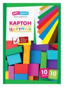 Цветной картон немелованный, на клею ArtSpace, A5, 10 л., 10 цв.