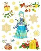 Наклейка интерьерная Феникс Present Снегурочка с птичками 30 х 38 см
