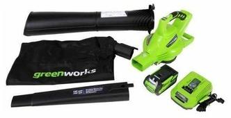 Аккумуляторная воздуходувка greenworks GD40BVK3 с АКБ и ЗУ
