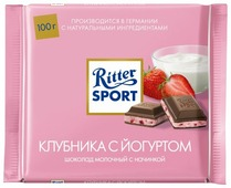 "Шоколад Ritter Sport ""Клубника с йогуртом"" молочный"