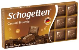 Шоколад Schogetten Caramel Brownie молочный с начинкой из крема брауни, печенья с какао и карамелью порционный