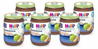 Каша HiPP Спокойной ночи молочный десерт с печеньем и яблоками (с 5 месяцев) 190 г, 6 шт.