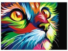 """Артвентура Картина по номерам """"Радужный кот"""" 16.5x13 см (MINI16130008)"""