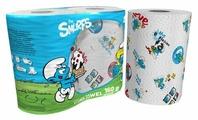 Полотенца бумажные World Cart Smurfs белые с рисунком трёхслойные
