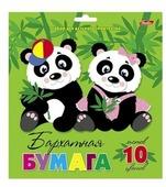 Цветная бумага бархатная Две панды Hatber, A5, 10 л., 10 цв.