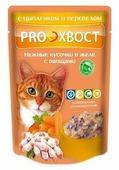 Корм для кошек PROхвост С Цыпленком и Перепелом в желе с овощами