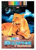 Цветной картон с тиснением Львы Hatber, A4, 10 л., 10 цв.