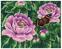 "Мосфа Картина по номерам ""Бабочка на пионах"" 40х50 см (7С-0233)"