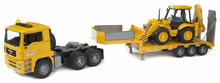 Набор техники Bruder Прицеп-платформа MAN с колёсным экскаватором-погрузчиком JCB 4CX (02-776) 1:16 42.5 см