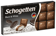 Шоколад Schogetten Black&White молочный с начинкой из ванильного крема и кусочками печенья с какао порционный