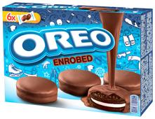 Печенье Oreo ENROBED с какао и начинкой с ванильным вкусом, покрытое шоколадной глазурью, 246 г