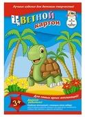 Цветной картон Черепаха Апплика, A4, 6 л., 6 цв.