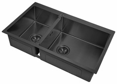 Врезная кухонная мойка ZorG PVD 78-2-51-R GRAFIT 78х51см нержавеющая сталь