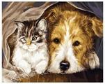 """Рыжий кот Картина по номерам """"Котенок и щенок"""" 40x50 см (G2457)"""