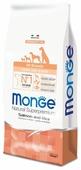 Корм для щенков Monge Speciality line для здоровья кожи и шерсти, для здоровья костей и суставов, лосось с рисом