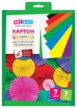 Цветной картон двусторонний, мелованный, в папке с европодвесом, в ассортименте ArtSpace, A4, 7 л., 7 цв.