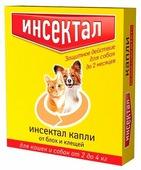 Инсектал Капли от блох и клещей для кошек и собак 2–4 кг