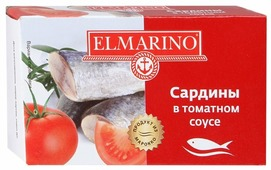ELMARINO Сардины в томатном соусе, 125 г
