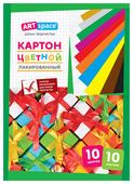 Цветной картон лакированный, в папке, в ассортименте ArtSpace, A4, 10 л., 10 цв.