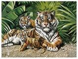 "Рыжий кот Картина по номерам ""Тигрица и тигрята"" 40х50 см (Q1158)"
