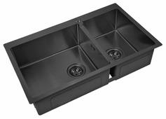 Врезная кухонная мойка ZorG PVD 78-2-51-L GRAFIT 78х51см нержавеющая сталь