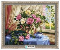 """Мосфа Картина по номерам """"Розы у окна"""" 40х50 см (7С-0105)"""