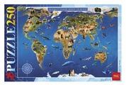 Пазл Hatber Карта Животный мир (250ПЗ3_15482), 250 дет.