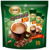 Растворимый кофе Московская кофейня на паяхъ Крепкий 3 в 1, в стиках